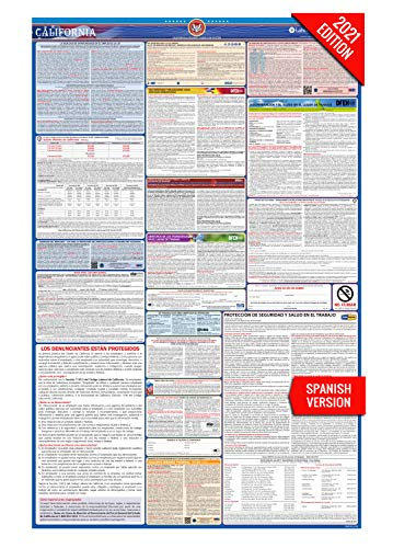 CA Labor Law Poster, 2021 Edition - State, Federal and OSHA Compliant Laminated Poster (California, Spanish)