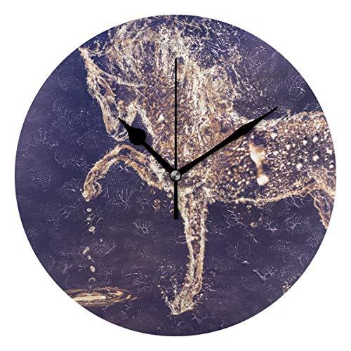 Montoj - Reloj de pared con forma de caballo de agua y funciona con pilas