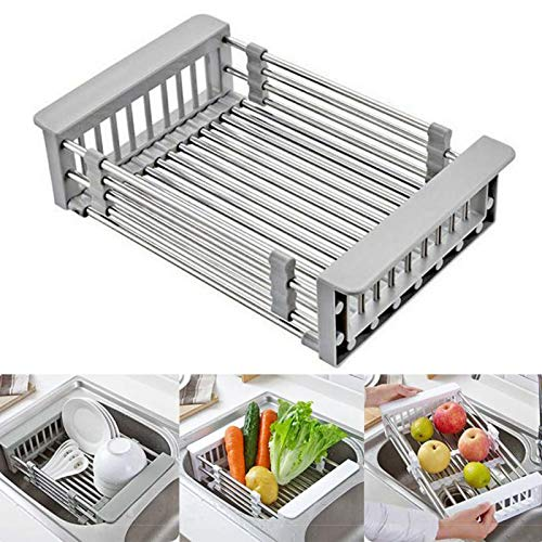 Retractable Stainless Steel Sink Strainer DrainTelescopic Drain Basket with Adjustable Armrest kitchen rack drain basket Over The Sink Dish Drying Rack