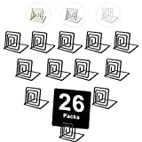 Urban Deco 26 Pieces Wire Place Table Card Holder Metallic Black Square Card Holders for Photos, Food Signs, Memo Notes, Weddings, Restaurants, Birthdays. (Black)