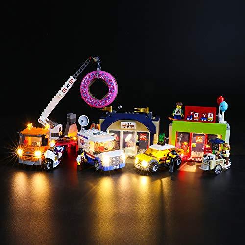 BRIKSMAX Kit de Iluminación Led para Lego City Town Inauguración de la Tienda de Dónuts,Compatible con Ladrillos de Construcción Lego Modelo 60233, Juego de Legos no Incluido
