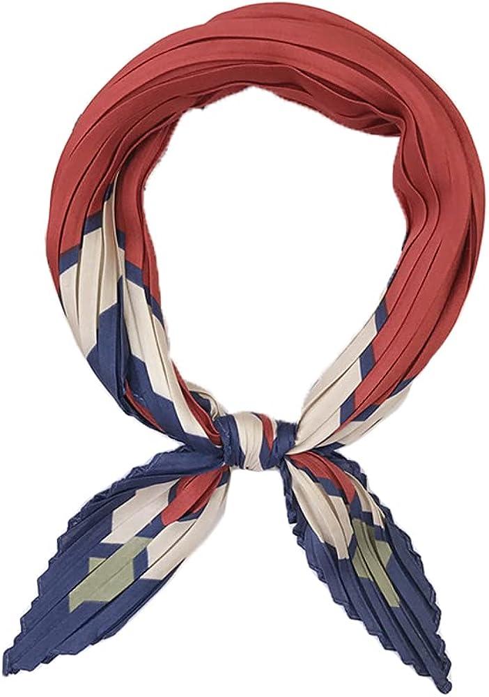 Women's Silk Feeling Scarf Medium Square Satin Head Scarf Neckerchief Bandana Pleated Headband