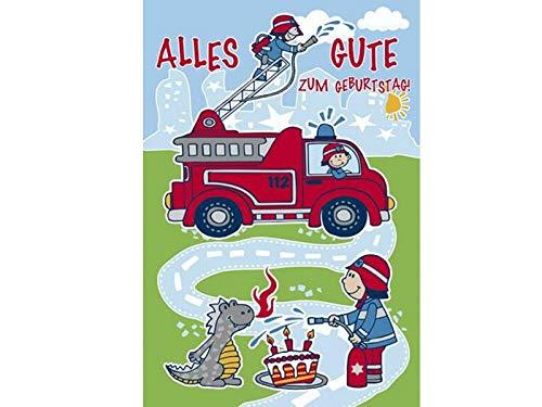 Grußkarten Glückwunschkarte Geburtstagskarte Klappkarte mit Briefumschlag - Alles Gute zum Geburtstag – Feuerwehr - Höhe 17,5 x Breite 11,5cm