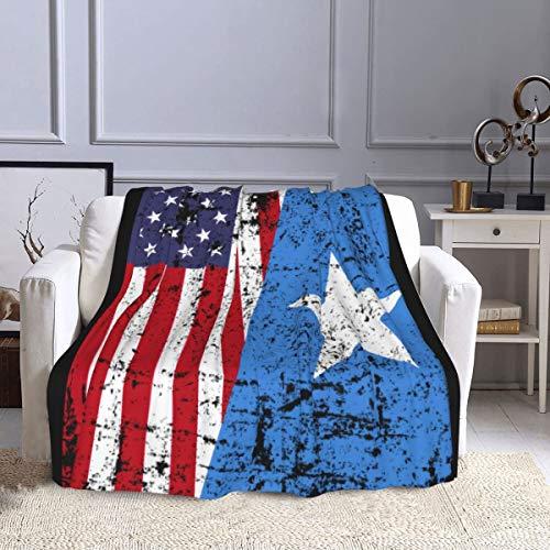 Manta de forro polar Somalia, diseño de Raíces somalíes con bandera americana, ultra suave, cálida, manta de felpa para sofá, cama, oficina y sala de estar, 127 x 152 cm