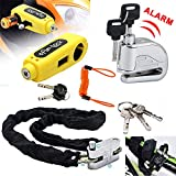 Maso Alarm Disc Brake Lock + Motorcycle Handlebar Lock + Motorbike Heavy Duty