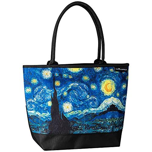 VON LILIENFELD Handtasche Damen Motiv Kunst Vincent van Gogh Sternennacht Shopper Maße cm L42 x H30 x T15 Strandtasche Henkeltasche Büro
