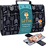 Portable Diaper Changing Pad by Lil Fox | Use One Handed | Waterproof Portable Changing Mat for Moms, Dads & Babies | Memory Foam Baby Head Pillow; Pockets for Diapers, Wipes and Creams
