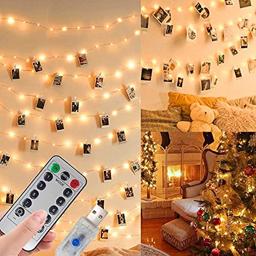 LED Fotoclips Lichterkette für Zimmer Deko,USB Oder Batterie Betrieben,10M 100LED Fotolichterkette mit Fernbedienung,8 Modi 50 Foto Clips für Wohnzimmer,Weihnachten,Hochzeiten
