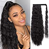 AISI QUEENS Long Ponytail Extension Wavy Curly 22' Straight Kinky Ponytail Bun Ponytail Clip on Hair for Black Women(color:1B#)