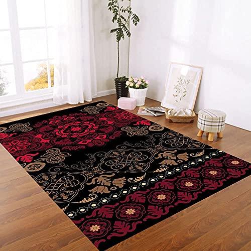 Buitenkleed Boho,Vintage Exotische Rode Mandala Bloemenprint Zwart Ultrazacht Groot Boho Tapijt Wasbaar Buitenkarpetten Vlekbestendig Loper Voor Woonkamer Hal, 63×90.5 Inch 160×230Cm