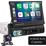 NHOPEEW Single Din Car Stereo Compatible with Apple Car Play and Android Auto 1 Din 7 inch Retractable Touch Screen Car Radio with Bluetooth and Backup Camera