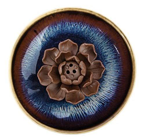 Beihaoer - Porta incenso in ceramica decorativa, motivo: loto