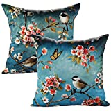 JOTOM Funda de Almohada con Forma de Flor de Lino de algodón Funda de Cojines Cuadrados para sofá sofá Decorativo para casa 45 x 45 cm, Juego de 2 (Aves)
