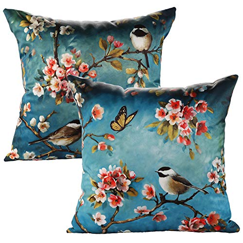 JOTOM Throw Pillow Case Animal Cushion Covers Couch Pillowcase Sofa Home Car Decorative 45 x 45cm,Set of 2 (Birds)