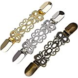 XYDZ 3 Piezas Clips de Suéter Vintage Oro Plata Bronze Clip de Rebeca de Mujer Chal Clip Crystal Charm Broche Chal Buckle para Vestido Ropa - 13,5cm