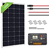 ECO-WORTHY 120 Watts Solar Panel Off Gird RV Boat Kit :120W Mono Solar Panel +20A LCD Charge Controller+Z Brackets+MC4 Connector with 30FT Extension Cable