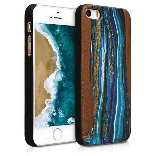 kwmobile Hülle kompatibel mit Apple iPhone SE (1.Gen 2016) / 5 / 5S - Handy Schutzhülle aus Holz - Cover Case Handyhülle Holz Farbbrush Blau Braun