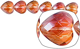 Crystal Bead, Center-drilled Grid Hearts, Topaz AB2X Coated, 18x18mm