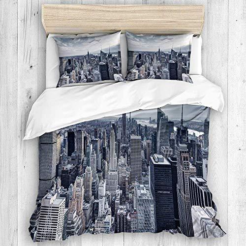Zozun Funda nórdica, Juego de Funda nórdica con Imagen panorámica del Paisaje Urbano de la Ciudad de Nueva York, con Cremallera, Juego de Funda nórdica de Calidad