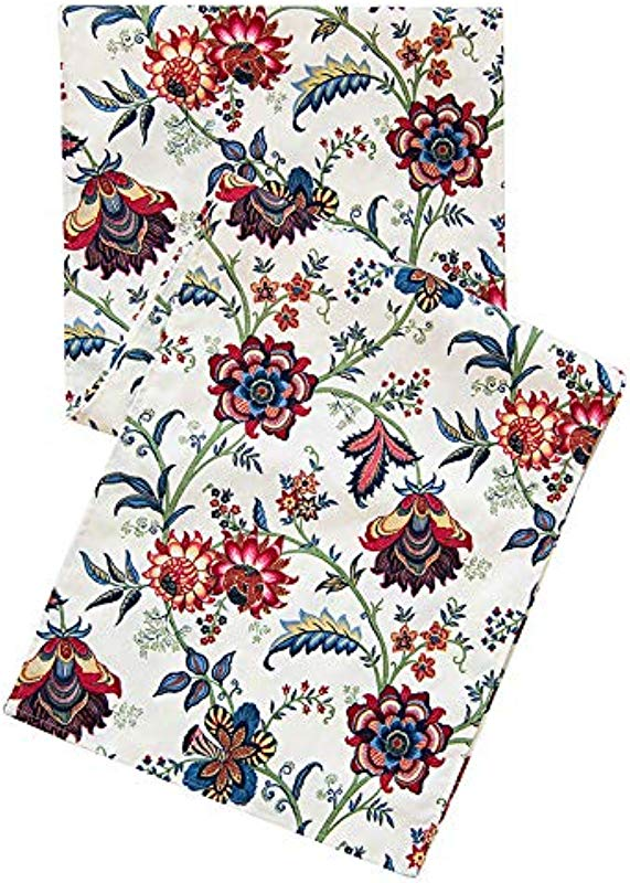 Blue Red Table Runners 90 Inch Table Decor Fall Table Runner Thanksgiving Holiday Floral