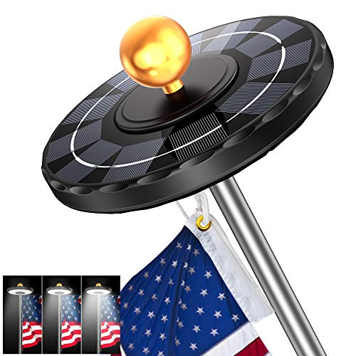 """Solar Flag Pole Light, Newest 132 LED 3X Brighter Solar Powered Flagpole Light 100% Flag Coverage Waterproof Solar Light for in-Ground Poles 15-25Ft, Fits 0.5"""" Wide Flag Ornament Spindles"""