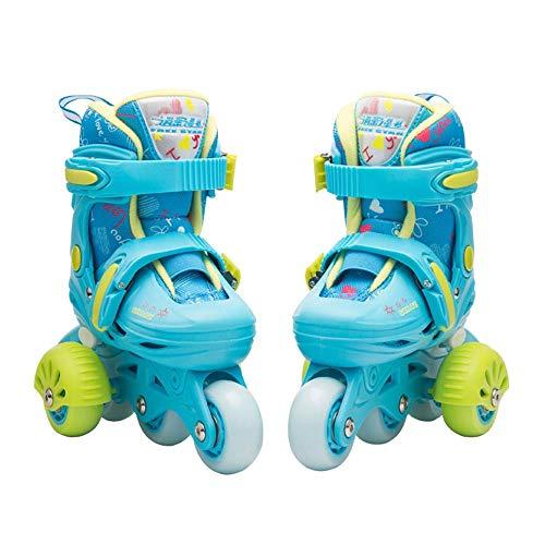 QIANG Rollschuhe Jungen Mädchen Kleinkinder Einstellbare Räder Schlittschuhe Kinder Anfänger PVC Rad Triple Lock Mesh Atmungsaktive Skating Schuhe Schutz Set 3-8 Jahre Alt,Blue-S(25-28)-set1