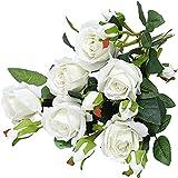 Yyhmkb Rosas Artificiales Terciopelo Flores Falsas Ramo De Rosas 6 Piezas En Total 18 Rosas De Un Solo Tallo Flor De Rosa Decoración De La Boda Rosas Flor Decorativa para El Hogar Blanco