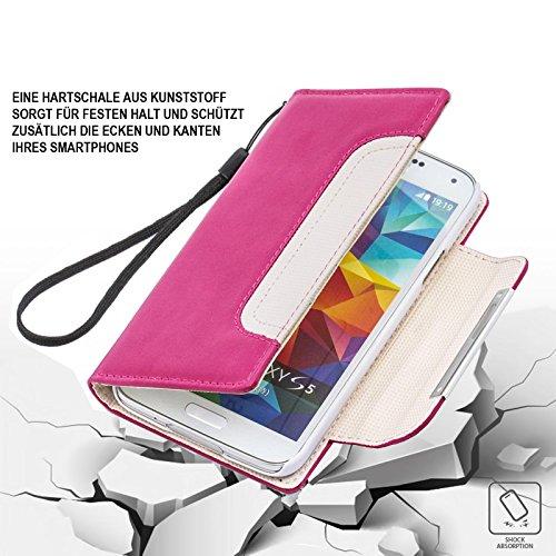 Huawei Ascend Y300 Hülle, numia Handyhülle Handy Schutzhülle [Book-Style Handytasche mit Standfunktion und Kartenfach] Pu Leder Tasche für Huawei Ascend Y300 Case Cover [Pink-Weiss] - 4