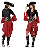 Costume de Carnaval Combinaison Mascarade Pirate Princesse Déguisement Femme avec Chapeau et Ceinture Tobe Fille Cosplay Fête Adulte Halloween Rouge/Noir M