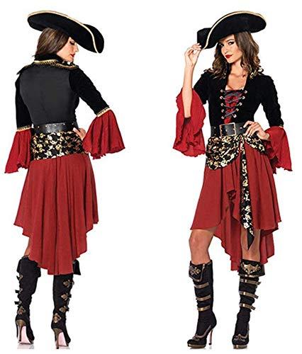 Ovender Disfraz de Carnaval Mono Mascarada Princesa Pirata Mujer con Sombrero y...
