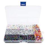 TOAOB 1080pcs in Box Mix Acrylfarbe Alphabet Buchstabe Perlen Set mit Kristalldraht für Kinder Handarbeit DIY Schmuck
