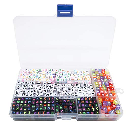TOAOB 1000pcs En Boîte Mélange Couleur Acrylique Alphabet Lettre Perles Kit Cube 6mm Pour À La Main DIY Fabrication de Bijoux Bracelets Colliers Loisirs Créatifs