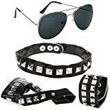 com-four® Juego de rockero de 4 piezas - Gafas de piloto con brazalete, collar y guante de dedo en aspecto de cuero con tachuelas piramidales (04 piezas - pulsera/collar/guante de dedo/gafas)