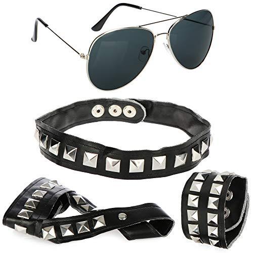 com-four Juego de rockero de 4 piezas - Gafas de piloto con brazalete, collar y guante de dedo en aspecto de cuero con tachuelas piramidales (04 piezas - pulsera/collar/guante de dedo/gafas)