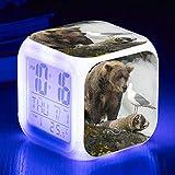 Wake Up Lights USB Cute Bear Alarm Clock 7 Color Glowing LED Mood Lamp Reloj Despertador Digital Para Niños Regalo De Cumpleaños Relojes Electrónicos RelojD