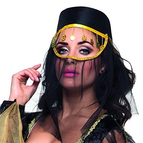 Amakando FES mit Gesichtsschleier - schwarz - Hut mit Schleier Arabischer Kopfschmuck 1001 Nacht Kostümzubehör Haremsdame Accessoire Orientalische Kopfbedeckung
