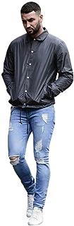 ジーンズ Karchi メンズ ダメージ スキニーデニム 気質UP ストレッチ スウェットデニム 人気 パッチワークリペア加工スキニーアンクル サーフ系 ビター系