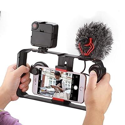 Ulanzi 改良したスマートフォンビデオリング iPhone携帯電話用ビデオスタビライザー インタビューマイクグリップ 三脚マウント 縦横撮影 ビデオメーカー映画製作者のビデオ撮影者、iPhone用X 8 Plus Sumsang 軽量で手持ち放送楽