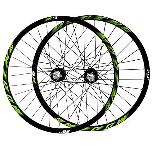 MZPWJD Fahrradfelge 26 27,5 29 Zoll Mountainbike-Laufradsatz MTB Doppelwandfelgen Scheibenbremse 8-10 Geschwindigkeit Kassettennabe 32H QR (Color : Green, Size : 29in)