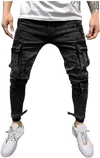 GEMSeven Salopette da Uomo con Risvolto Jeans Tuta in Denim A Contrasto per Pantaloni da Uomo