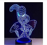 イリュージョンSF映画スパイダータイプギフトナイトライト3Dステレオビジョンランプアクリル7色ヒーローチェンジングUSBベッドルームベッドサイドナイトライトクリエイティブデスクランプベッドサイド