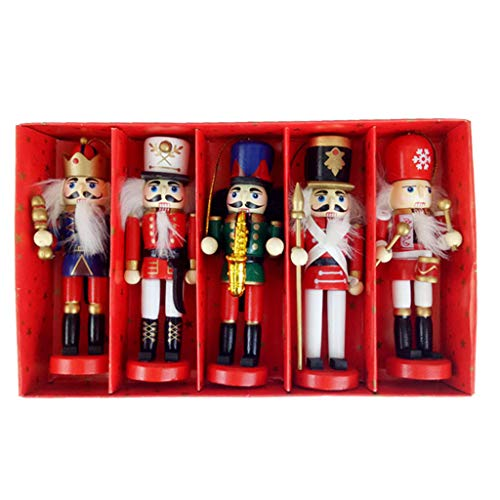 PTMD 5pcs 12cm de madera cascanueces marionetas Dibujo Soldado Nueces Decoracin Colgante rbol de Navidad Adorno Colgante