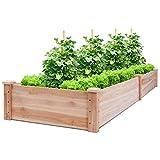 Giantex Raised Garden Bed Planter, Wooden Elevated Vegetable Planter Kit Box Grow for Pati...