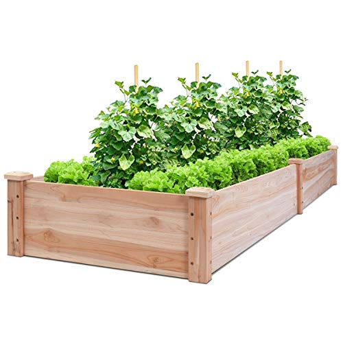 Giantex Raised Garden Bed Planter, Wooden Elevated Vegetable Planter Kit Box Grow for Patio Deck Balcony Outdoor Gardening, Natural