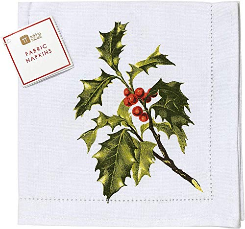 Talking Tables Weihnachtsparty Zubehör | Weihnachten Stoffservietten | Servietten Stechpalmenmotiv | Baumwolle, 4 Stück