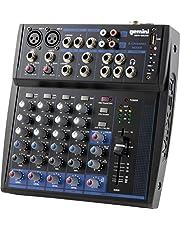 Gemini Professional Audio Equipment GEM-08USB Compact Rotary 12 Channel Live Sound Music Podcast Bluetooth USB DJ Mixers with 3 Band EQ, 2 Mic Inputs, 8