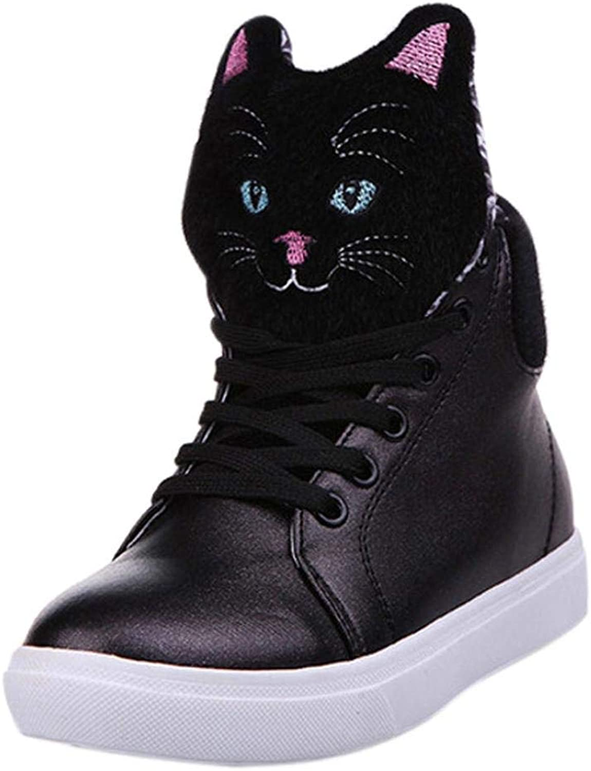 JaHGDU Autumn Cartoon Cat Head Flat Women Ankle Boots Casual Lace Up Ladies Sports Casual Training Fashion Daily Wild Comfort Stylish shoes