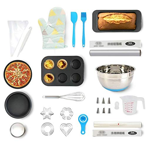 Nonstick Carbon Steel Bakeware Set, 18-Piece Baking Tools for Beginner Adults | Pizza Pan | Cake Muffin Mold | Whisk | Decorating Supplies