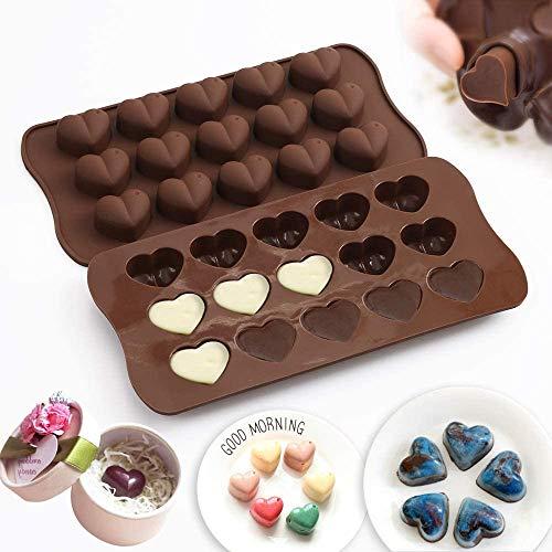 Stampo per Cioccolato, NALCY 4 Pezzi Silicone Stampi per Fondente Dolci, Stampo per Cioccolatini a Forma di Cuore, per Cubetti di Ghiaccio per Fare Caramelle Cioccolato Focaccina Cupcake