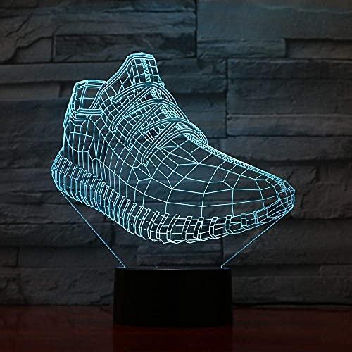 Jellyllyy luz 3D luz nocturna baloncesto regalo regalo de Navidad zapatillas 3D zapatos luces led juguetes luminosos para niños niños niñas bebé 7 colores flash remoto